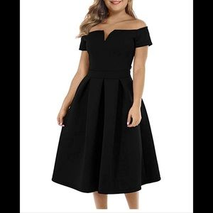 NWT Lalagen Off the Shoulder Black Dress
